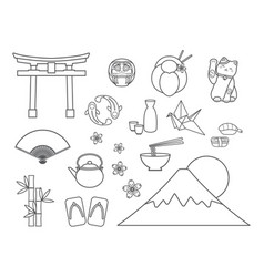 set japanese symbols vector image