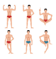 Set of sports men people flat icons vector