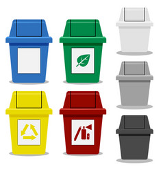 Set of trash bin with symbol in flat icon style vector