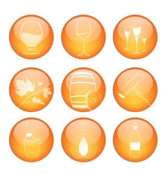 set winery sphere icons vector image