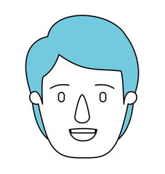 Silhouette cartoon front view face man with blue vector