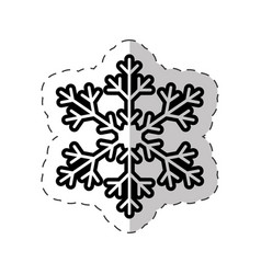 Snowflakes winter symbol cut line vector