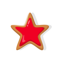 star bright red baked holiday gingerbread vector image