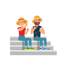 tourists sitting on stairs young couple resting vector image
