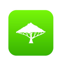 Tree with a spreading crown icon digital green vector