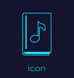 Turquoise line audio book icon isolated on blue vector