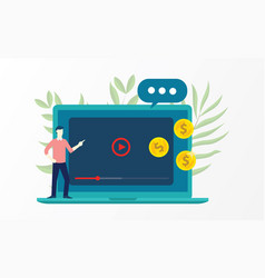 Video marketing with business man explain on vector