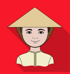 Vietnamesehuman race single icon in flat style vector
