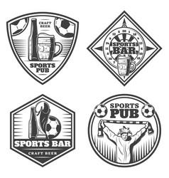 vintage sport bar emblems set vector image