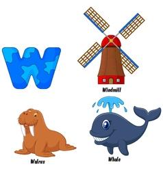 W alphabet vector image