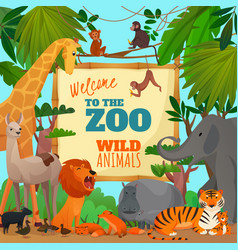Welcome to zoo cartoon poster vector