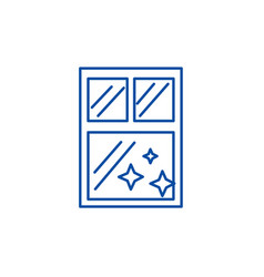 window clean cleaning line icon concept window vector image