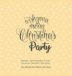 wishing you a merry chrismas night party vector image