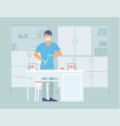 young laboratory assistant working with a test vector image