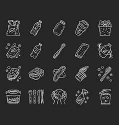 Zero waste swaps handmade chalk icons set vector