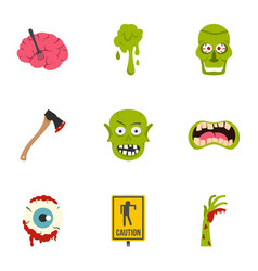 zombie icon set flat style vector image