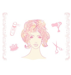 a pretty girl in a hairdresser salon vector image