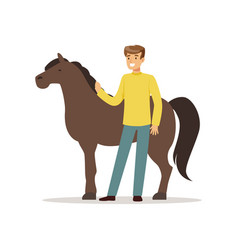 Farmer man caring for his horse farming and vector