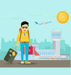 Holiday for businessman man with travel bag vector