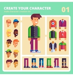 Male character kit in flat design vector image vector image