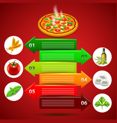 margarita pizza infographics with ingredients in vector image vector image