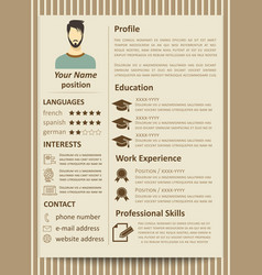 modern flat male resume tempate with design vector image vector image