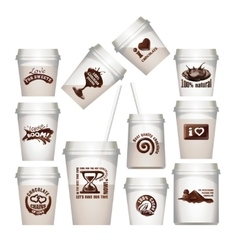 Set plastic cups with chocolate labels vector image vector image