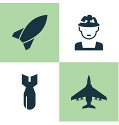 battle icons set collection of military rocket vector image vector image