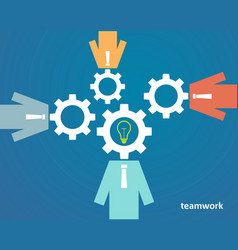 concept of teamwork - people with heads of gears vector image