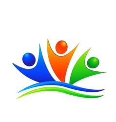 Happy swooshes team logo vector image vector image