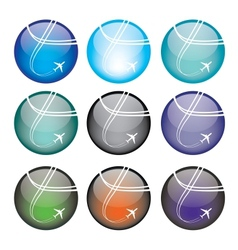 Set of airplane sphere icons vector image