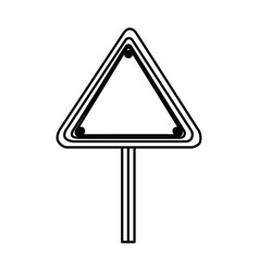 Silhouette triangle shape traffic sign with base vector