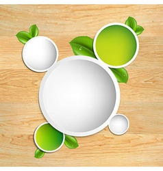Wood Texture With Green Leaves vector image vector image