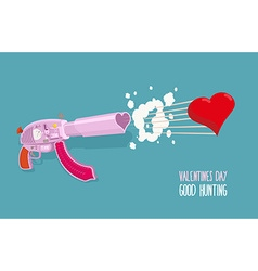 Arms of love Gun shoots hearts Valentines day Good vector image vector image