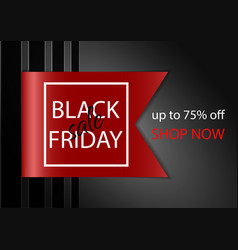black friday sale banner with realistic ribbon vector image vector image