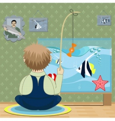 boy fisherman vector image vector image