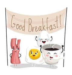 Funny breakfast cartoon character set vector image vector image