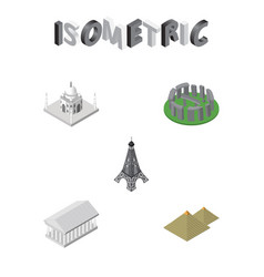 Isometric architecture set of athens england vector