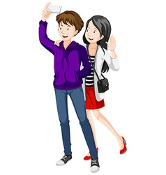 Man and woman taking picture from phone vector image vector image