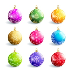 Set of decorative colorful christmas balls vector image vector image