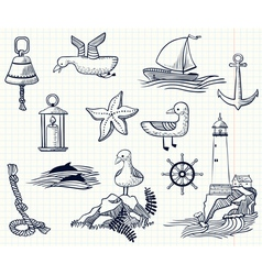 sketchy nautical objects vector image vector image