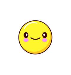 smiling emoticon icon kawaii flat design vector image vector image