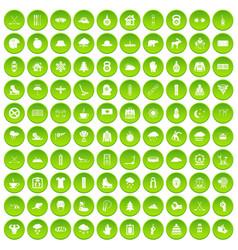 100 winter holidays icons set green circle vector image