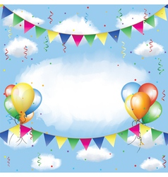 Banting balloons serpentine and confetti vector image vector image