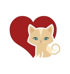 Cat animal domestic furry red heart vector