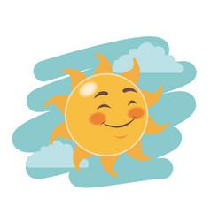 Cheerful cartoon sun close eyes facial expression vector