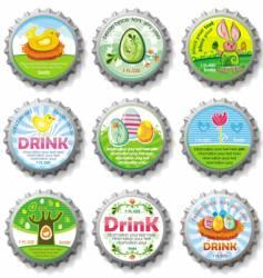 Easter bottle caps vector image vector image