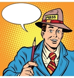Positive retro journalist interviews press media vector image vector image