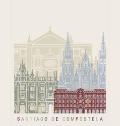 santiago de compostela skyline poster vector image vector image
