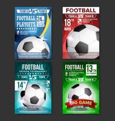 soccer poster set design for sport bar vector image